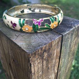 Vintage gold & floral bracelet